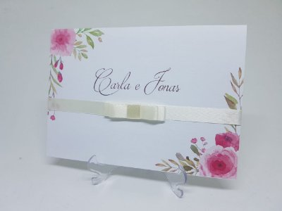 Convite floral rosa aquarela