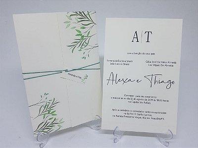 Convite casamento ramos e folhas