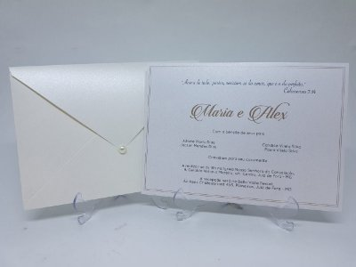 Convite casamento perolado metalizado classico