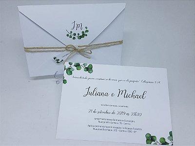 Convite casamento folhas envelope