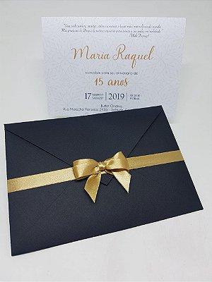 Convite 15 anos preto e dourado