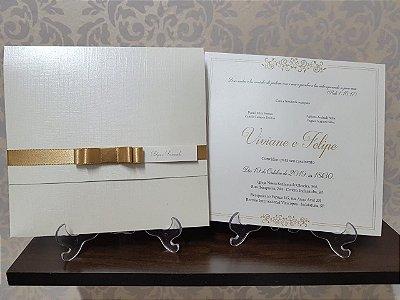 Convite casamento dourado especial