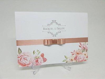 Convite casamento floral rosê
