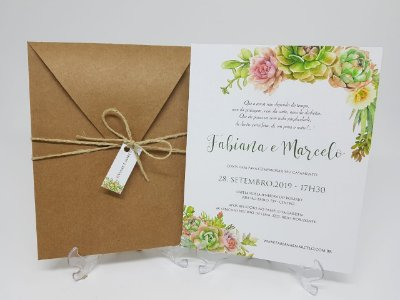 Convite casamento suculentas