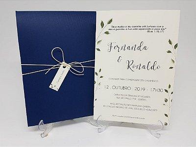 Convite casamento azul marinho