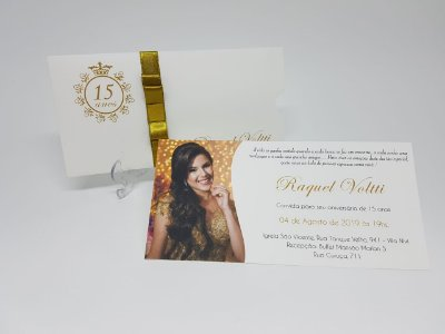 Convite debutante com foto dourado