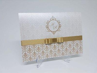 Convite casamento dourado pérola