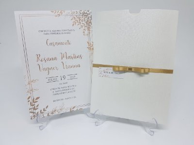 Convite casamento papel vegetal dourado