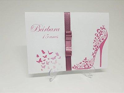 Convite debutantes borboleta e sapato rosa