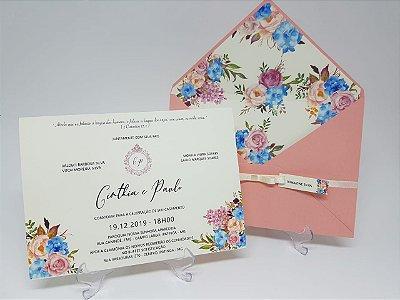 Convite Casamento Rosê forrado em flores