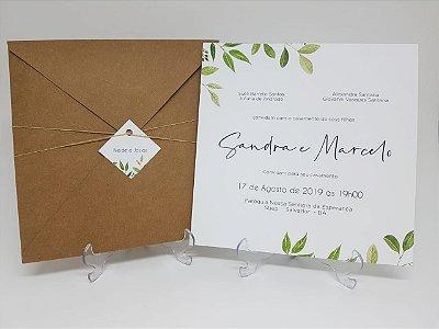 Convite rustico com folhas verdes