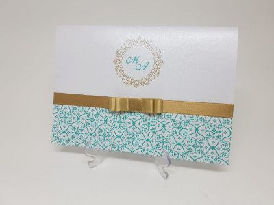 Convite 15 anos Tiffany e dourado