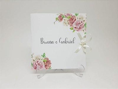 Convite casamento rosas flores