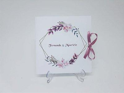 Convite casamento brasao ramos flores