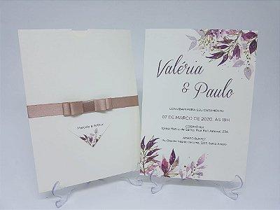 Convite de casamento marfim com flores