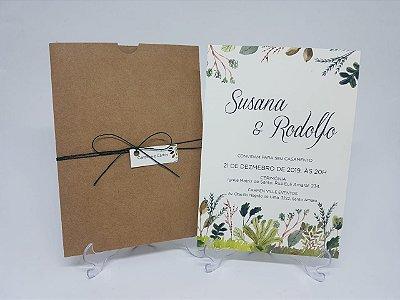 Convite de casamento envelope luva folhagen