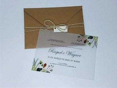 Convite de casamento kraft linhao folhas