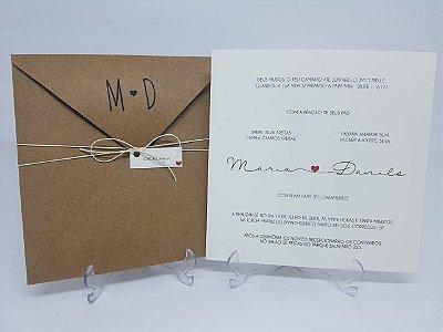 Convite de casamento rustico simples