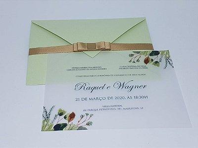 Convite para casamento verde e folhas