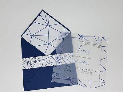Convite casamento envelope azul forrado
