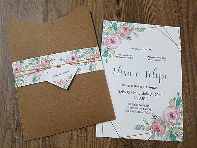 Convite casamento rustico flores e faixa