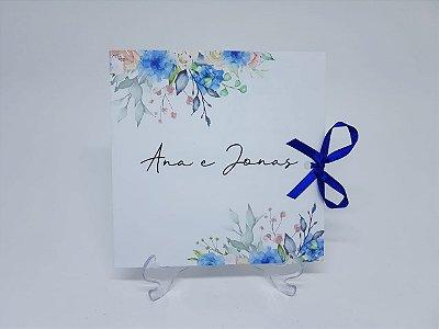 Convite de casamento floral azul aquarela