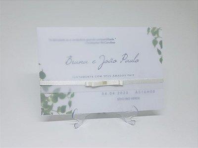 Convite folhas verdes papel vegetal