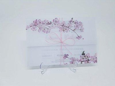 Convite casamento cerejeira em papel vegetal