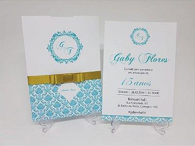 Convite de 15 anos Tiffany e Dourado
