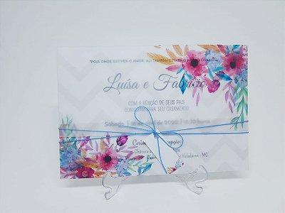 Convite papel vegetal colorido