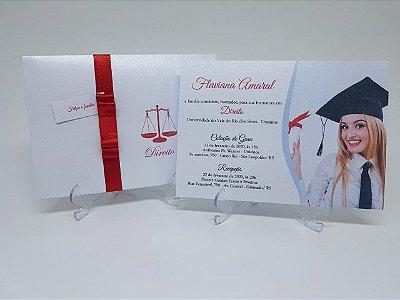 Convite de formatura metalizado com foto