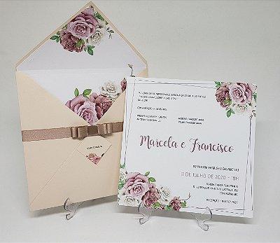 Convite casamento nude e rosê forrado