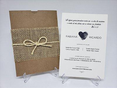Convite de casamento tema campo