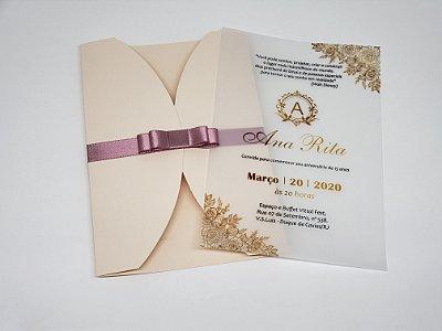 Convite 15 anos rose e dourado papel vegetal