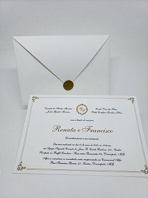 Convite de casamento branco e dourado lacre de cera