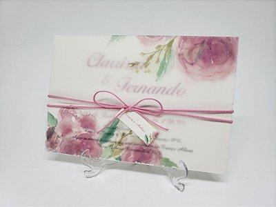 Convite casamento aquarela papel vegetal flores