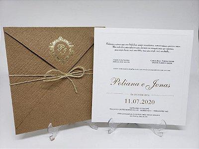 Convite casamento Linhao brasao metalizado
