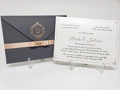 Convite casamento cinza e rosê gold metalizado