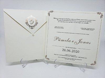 Convite casamento dourado Hostamping metalizado