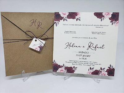 Convite de casamento simples marsala