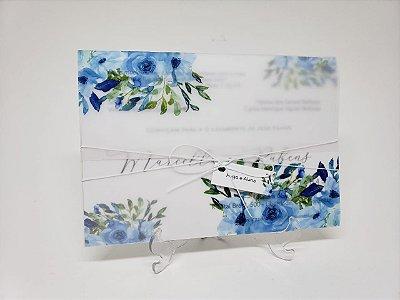 Convite casamento azul serenity vegetal