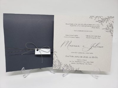 Convite Casamento minimalista Cinza