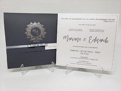 Convite bodas de prata cinza HOT metalizado