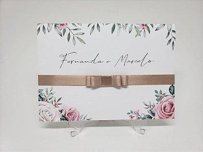 Convite casamento barato com flores e folhas