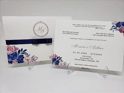 Convite de casamento com flores rosa e azul