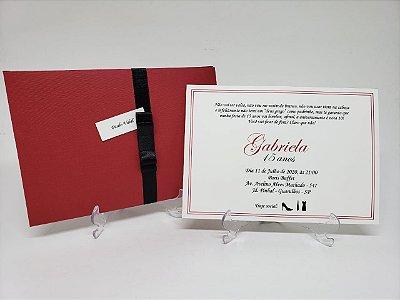 Convite 15 anos Luva vermelho e preto