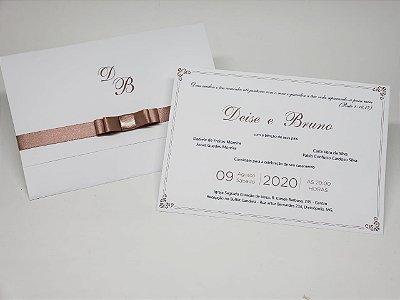 Convite casamento simples branco e nude