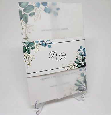 Convite casamento folhagens em papel vegetal