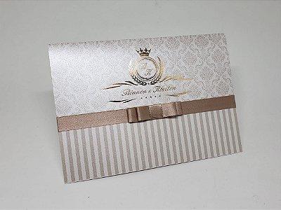 Convite casamento dourado Hotstamping Aspen 250g