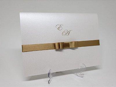 Convite casamento simples dourado Perolado Aspen